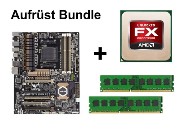 Aufrüst Bundle - SABERTOOTH 990FX R2.0 + AMD FX-8150 + 4GB RAM #56373
