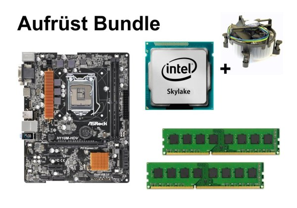 Aufrüst Bundle - ASRock H110M-HDV + Intel Core i5-6600 + 8GB RAM #109649