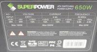 SuperPower SPS-650SP.(14) ATX Netzteil 650 Watt    #303652