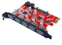 Inateck KTU3FR-5O2I, 5 Port  5x USB 3.0, PCIe x1 Karte...